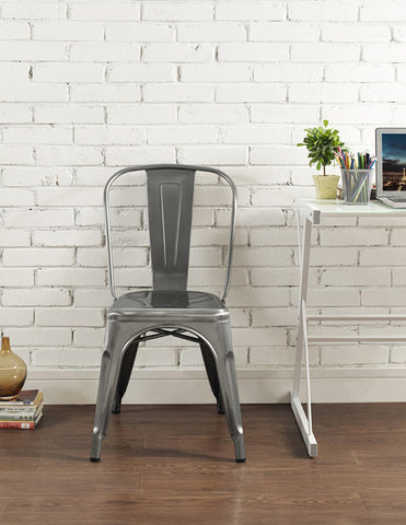 Walker Edison CH33MCGM Metal Café Chair - Gun Metal - Peazz.com - 1