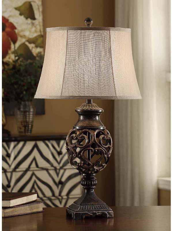 Crestview Collection CVAVP235 Scrolled Iron Table Lamp 13 X 16.5 X 11