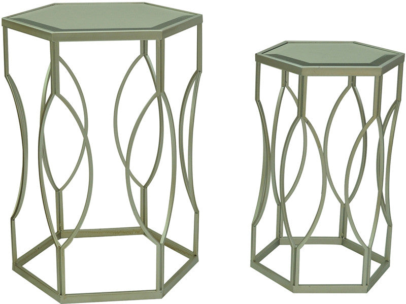 Crestview Collection Cvfzr1010 Silver Springs Nested Tables L: 18 X 15.5 X 24; S: 13.5 X 11.75 X 21