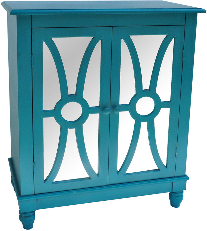 Crestview Collection CVFZR1020 Clairemont Turquoise 2 Door Cabinet 30 X 16 X 36