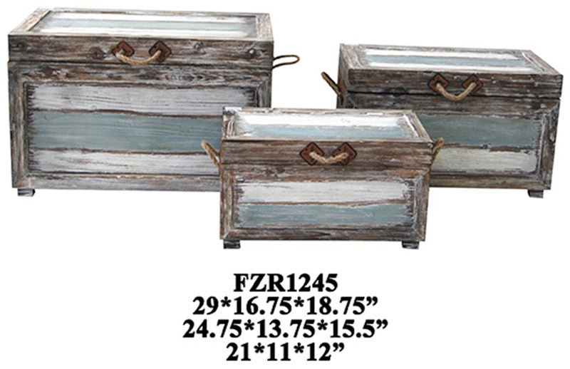 Crestview Collection CVFZR1245 Nantucket Weathered Wood Trunks L - 29 X 16.75 X 18.75 M - 24.75 X 13.75 X 15.5 S - 21 X 11 X 12