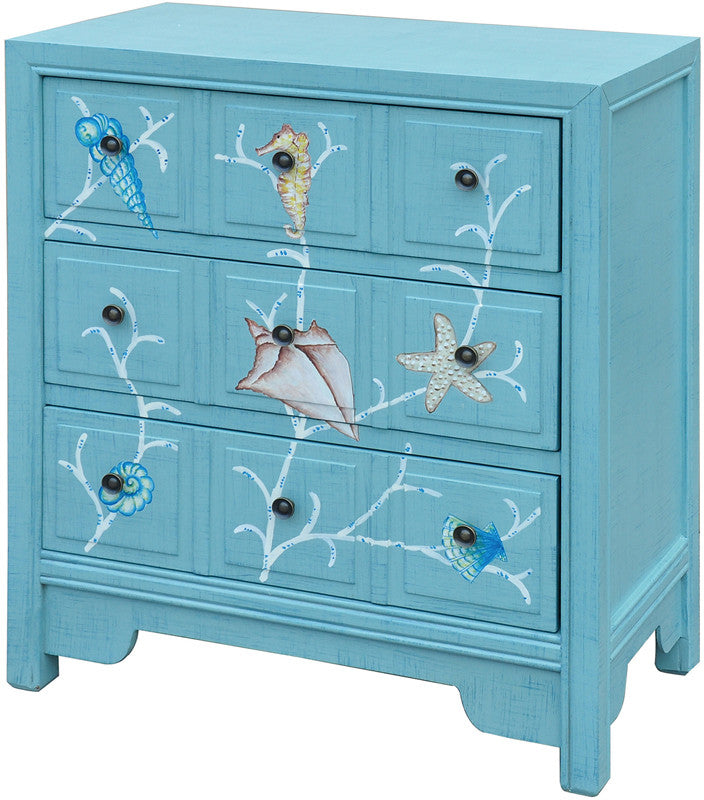 Crestview Collection CVFZR1481 Coral Reef Aqua 3 Drawer Chest 27 X 14 X 31.5H