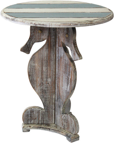 Crestview Collection CVFZR1528 Nantucket Seahorse Accent Table 23.75 X 23.75 X 27.75 - Peazz.com