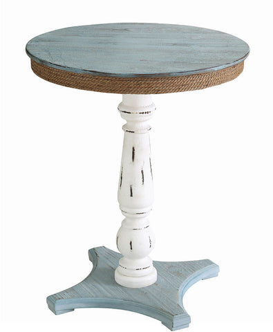 Crestview Collection CVFZR1709 Sea Isle Two Tone Rustic Coastal Wood And Rope Apron Accent Table 21.25 X 21.25 X 26.25 - Peazz.com