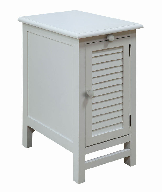 Crestview Collection CVFZR1738 Cape May Cottage White Shutter Door And 1 Pull Shelf Chairside Table 13 X 19 X 24 CTC-CVFZR1738