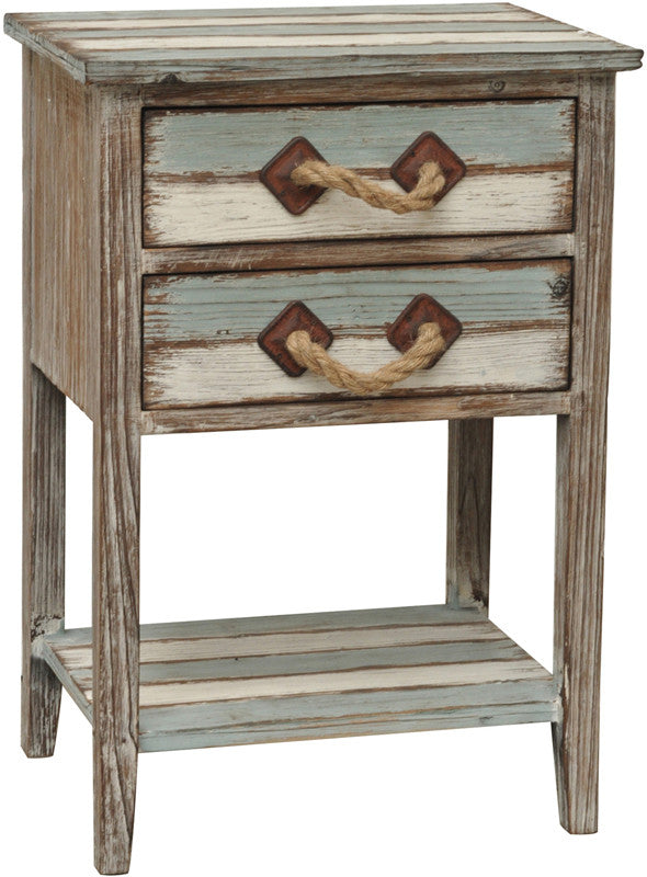 Crestview Collection CVFZR693 Nantucket 2 Drawer Weathered Wood Accent Table 17.75 X 13 X 26
