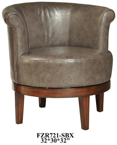 Bayden Hill CVFZR721 Camden Grey Leather Swivel Chair 32 X 30 X 32 - Peazz.com