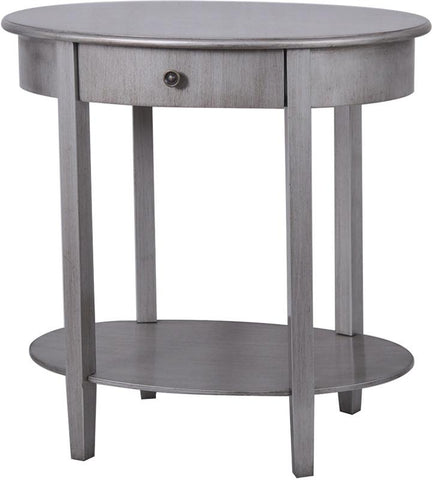 Bayden Hill CVFZR851 Hudson 1 Drawer Pewter Oval Accent Table 27 X 18 X 27 - Peazz.com