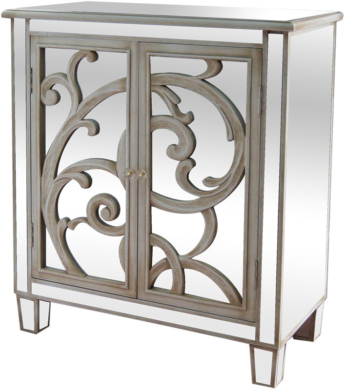 Crestview Collection CVFZR868 La Salle White Scroll And Mirror 2 Door Cabinet 28 X 13 X 32