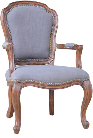 Crestview Collection CVFZR904 Providence Wood Accent Chair W/ Grey Linen And Nailhead Trim 25 X 29 X 39 - Peazz.com