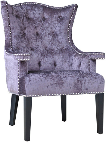 Crestview Collection CVFZR905 Fifth Avenue Upholstered Eggplant Velvet Chair W/ Nailhead Trim 30 X 29.5 X 41.75 - Peazz.com