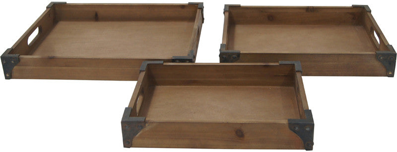 Crestview Collection CVTRA370 Rustic Trays L:17.5 X 13.5 X 2.5 M: 15 X 11.5 X 2.5 S:13 X 9 X 2