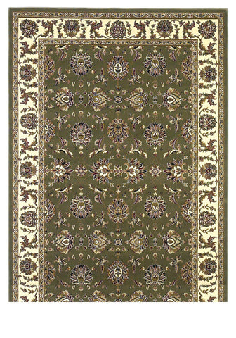 "KAS Rugs Cambridge 7314 Green/Ivory Kashan Machine-Made 100% Heat-set Polypropelene 7'7"" Round"