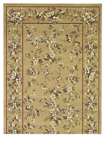 "KAS Rugs Cambridge 7338 Beige Floral Delight Machine-Made 100% Heat-set Polypropelene 7'7"" Round"