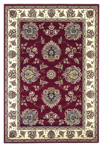 "KAS Rugs Cambridge 7340 Red /Ivory Floral Mahal Machine-Made 100% Heat-set Polypropelene 7'7"" Round"