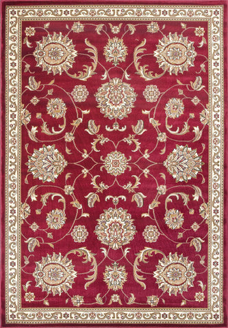 "KAS Rugs Cambridge 7355 Red Allover Mahal Machine-Made 100% Heat-set Polypropelene 7'7"" Round"