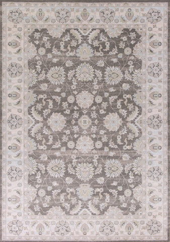 "KAS Rugs Chandler 4906 Charcoal/Ivory Mahal Machine-Woven 100% Polypropelene 6'6"" Round"