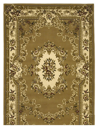 "KAS Rugs Corinthian 5309 Beige/Ivory Aubusson Machine-Made 100% Heat-set Polypropelene with Hand-Carved Patterns 20"" x 31"""