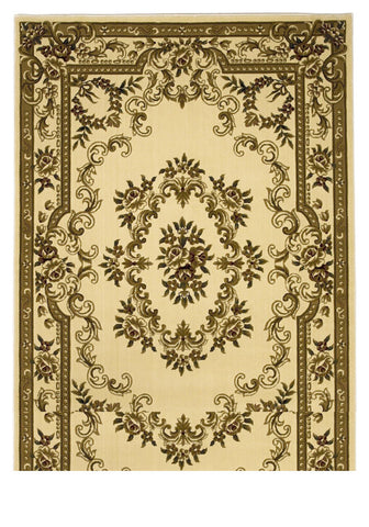 "KAS Rugs Corinthian 5311 Ivory Aubusson Machine-Made 100% Heat-set Polypropelene with Hand-Carved Patterns 20"" x 31"""