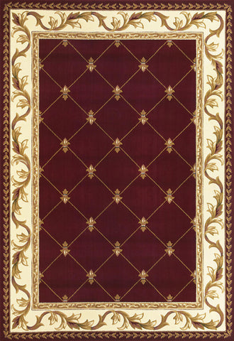 "KAS Rugs Corinthian 5319 Red Fleur-De-Lis Machine-Made 100% Heat-set Polypropelene with Hand-Carved Patterns 7'7"" Round"