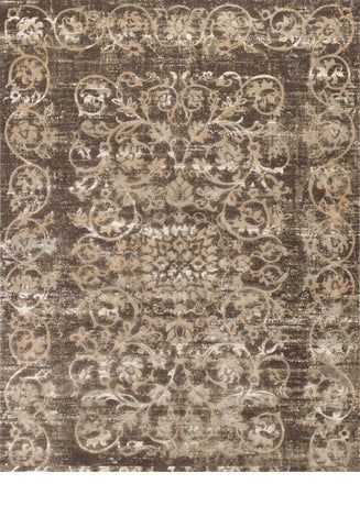 "KAS Rugs Crete 6508 Taupe Courtyard Machine-Made Polypropelene and Viscose 2'2"" x 6'11"" Runner"
