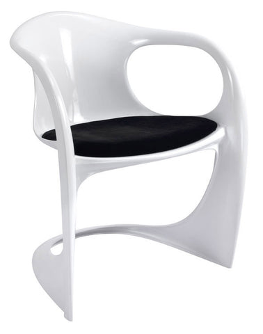 Mochi Furniture Modern Polycarbonate Accent Chair with Black Padded Seat - White (Set of 4)