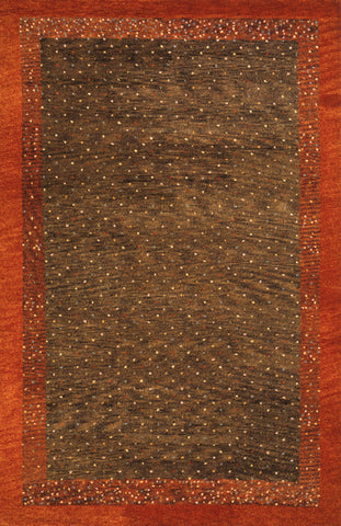 Momeni DEGABDG-01BRN5380 Indian Hand Knotted Desert Gabbeh Collection Brown Finish Rugs