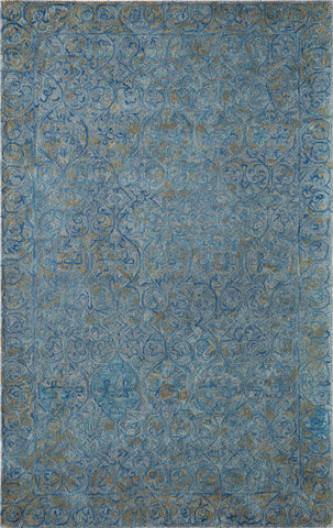 Momeni DELHIDL-66BLU80A0 Indian Hand Tufted Delhi Collection Blue Finish Rugs