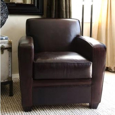 Element Home Furnishing DEX-SC-CAPP-1 Dexter Top Grain Leather Standard Chair in Cappuccino - Peazz.com