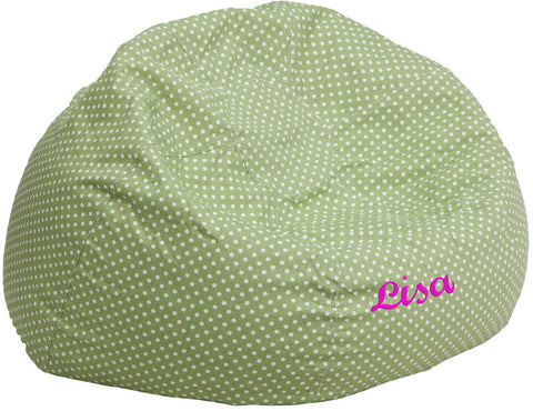 Flash Furniture DG-BEAN-LARGE-DOT-GRN-TXTEMB-GG Personalized Oversized Green Dot Bean Bag Chair - Peazz.com