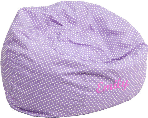 Flash Furniture DG-BEAN-LARGE-DOT-PUR-EMB-GG Personalized Oversized Lavender Dot Bean Bag Chair - Peazz.com