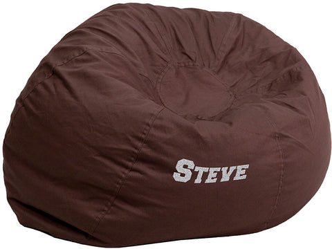 Flash Furniture DG-BEAN-LARGE-SOLID-BRN-EMB-GG Personalized Oversized Solid Brown Bean Bag Chair - Peazz.com
