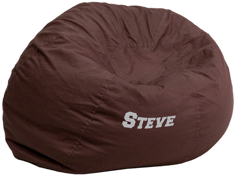 Flash Furniture DG-BEAN-LARGE-SOLID-BRN-TXTEMB-GG Personalized Oversized Solid Brown Bean Bag Chair - Peazz.com