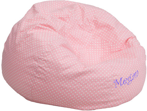 Flash Furniture DG-BEAN-SMALL-DOT-PK-EMB-GG Personalized Small Light Pink Dot Kids Bean Bag Chair - Peazz.com