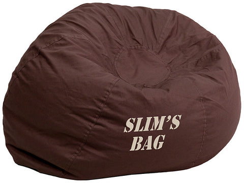 Flash Furniture DG-BEAN-SMALL-SOLID-BRN-EMB-GG Personalized Small Solid Brown Kids Bean Bag Chair - Peazz.com