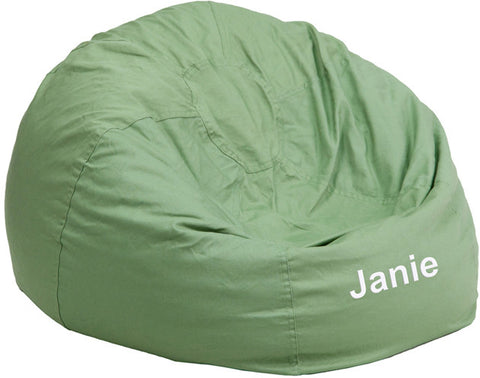 Flash Furniture DG-BEAN-SMALL-SOLID-GRN-TXTEMB-GG Personalized Small Solid Green Kids Bean Bag Chair - Peazz.com