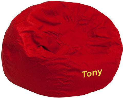 Flash Furniture DG-BEAN-SMALL-SOLID-RED-EMB-GG Personalized Small Solid Red Kids Bean Bag Chair - Peazz.com