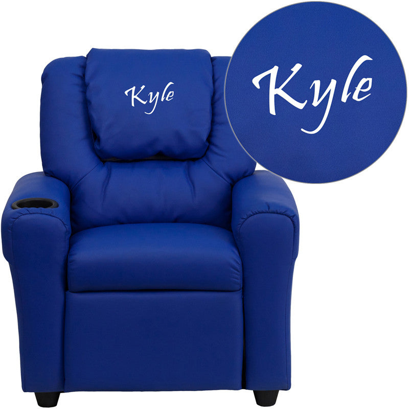 Flash Furniture DG-ULT-KID-BLUE-TXTEMB-GG Personalized Blue Vinyl Kids Recliner with Cup Holder and Headrest