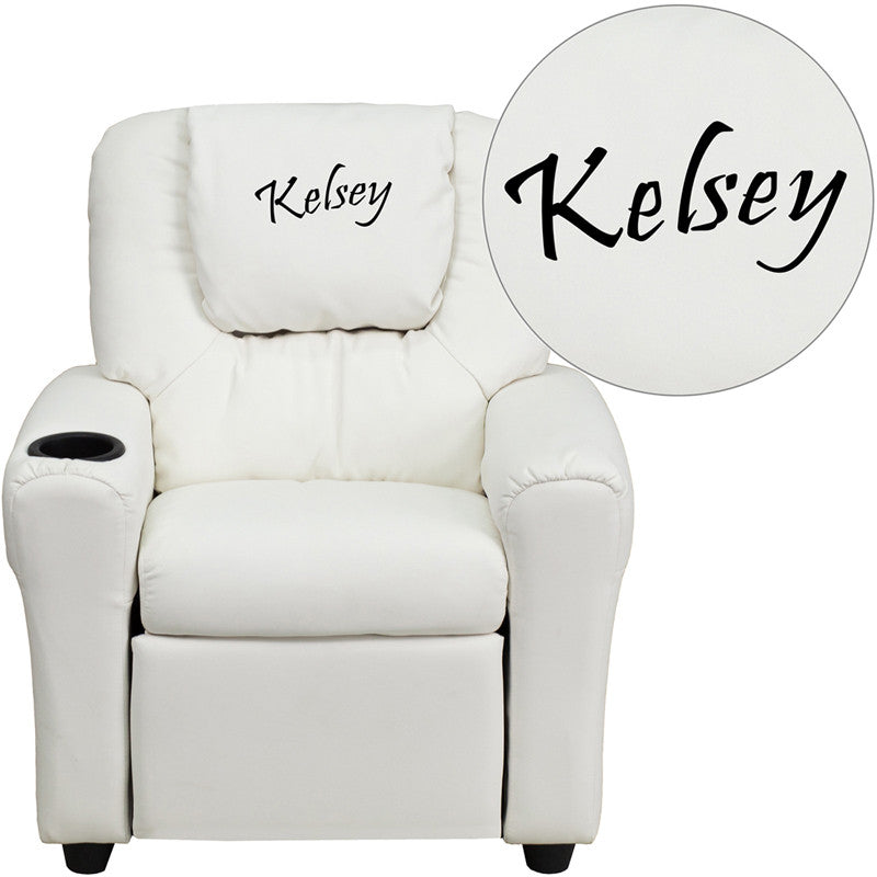 Flash Furniture DG-ULT-KID-WHITE-TXTEMB-GG Personalized White Vinyl Kids Recliner with Cup Holder and Headrest