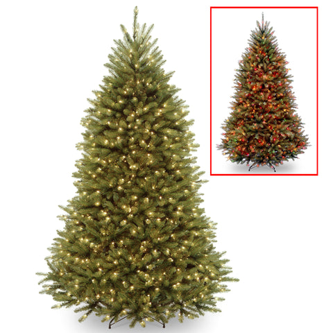 National Tree DUH-330LD-75S 7 1/2' Dunhill Fir Hinged Tree with 700 Low Voltage Dual LED Lights with 9 Function Footswitch