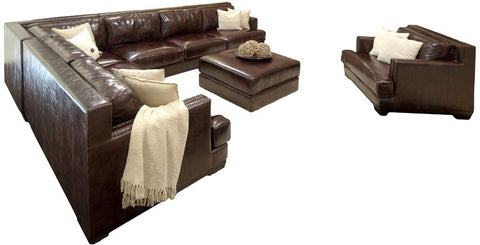 Element Home Furnishing EAS-3PC-RAFS-LAFL-CS-SC-CO-SADD-1 Easton 3-Piece Top Grain Leather Sectional Collection (Right Arm Facing Sofa, Left Arm Facing Loveseat, Corner Seat) in Saddle including 1-Sectional, 1-Standard Chair and 1-Cocktail Ottoman - Peazz.com