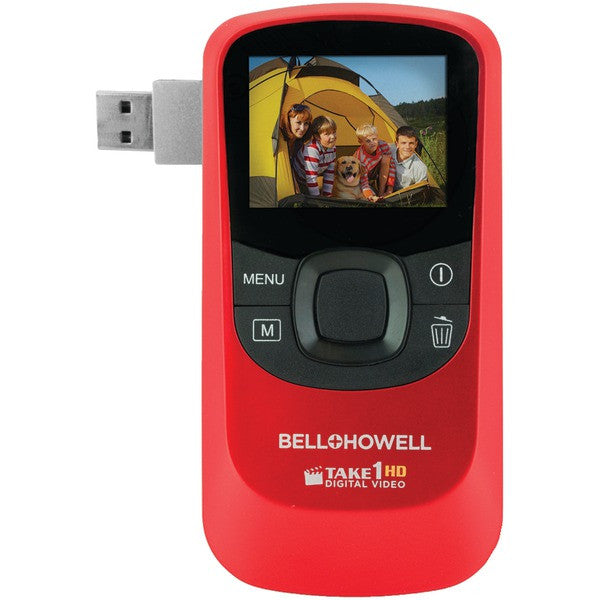 Bell+howell T10hd-r 5.0-megapixel 1080p Take1hd Digital Video Camcorder With Flip-out Usb (red)