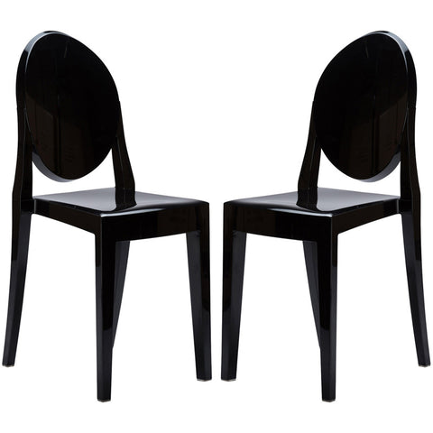 EdgeMod EM-102-BLK-X2 Burton Side Chair In Black (Set of 2)