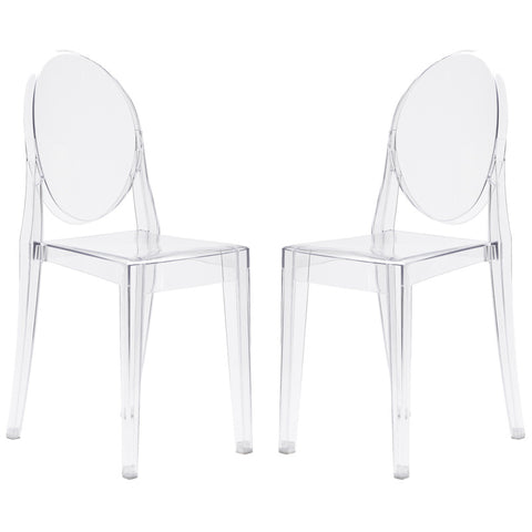 EdgeMod EM-102-CLR-X2 Burton Side Chair In Clear (Set of 2)