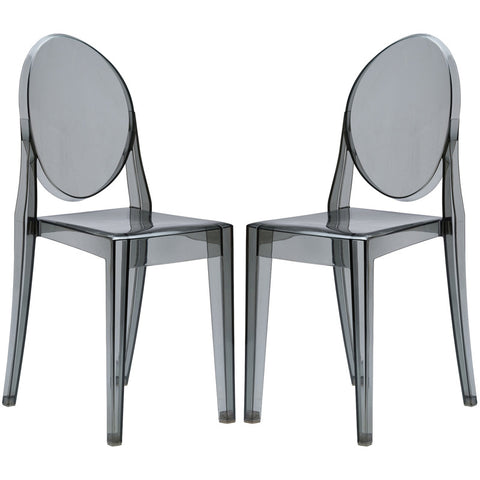EdgeMod EM-102-SMK-X2 Burton Side Chair In Smoke (Set of 2)