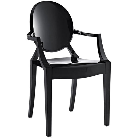EdgeMod EM-103-BLK-X2 Burton Arm Chair In Black(Set of 2)