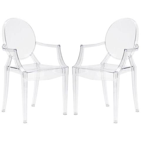 EdgeMod EM-103-CLR-X2 Burton Arm Chair In Clear (Set of 2)
