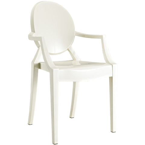 EdgeMod EM-103-WHI-X2 Burton Arm Chair In White (Set of 2)