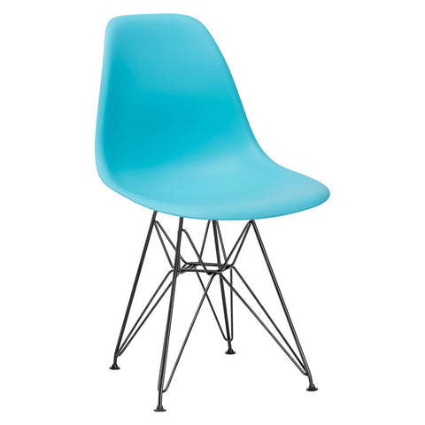 EdgeMod EM-104-BLK-AQU-X2 Padget Side Chair in Black / Aqua (Set of 2)