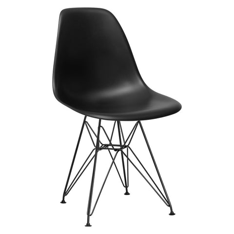 EdgeMod EM-104-BLK-BLK-X2 Padget Side Chair in Black / Black (Set of 2)